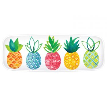 Plat en plastique ananas colorés