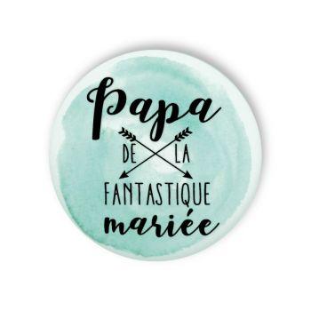 Badge papa mariée fantastique aquarelle