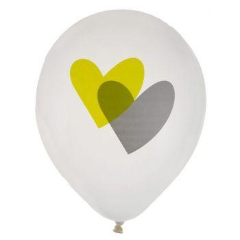 8 Ballons Coeurs vert et gris