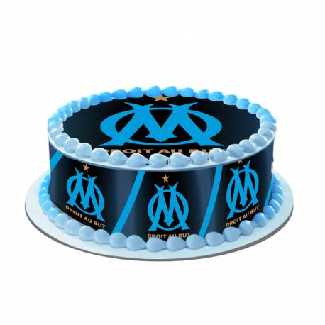Kit décor en sucre pour réaliser un gâteau rond OM en 1 clin d'oeil !Prévu pour un gâteau d'un diamètre de 20 cm soit 8 parts...