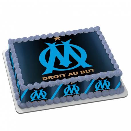 Kit décor en sucre décor OM pour réaliser un gâteau rectangle en 1 clin d'oeil !Prévu pour un gâteau rectangle de 20 x 30 cm soit 18...