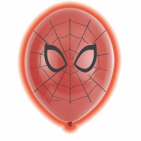 5 Ballons latex avec LED thème Spiderman pour une belle décoration d'anniversaire Dimensions : Ø28cm Ne peut pas être gonflé avec de...