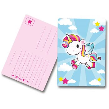 8 Cartes invitations Licorne pop