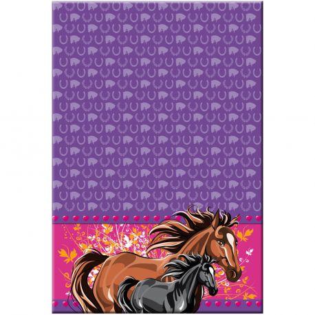 Nappe en plastique pour la décoration de table d'un anniversaire thème chevaux Dimensions: 180cm x 130cm
