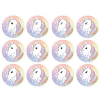 12 Mini disques en sucre Licorne