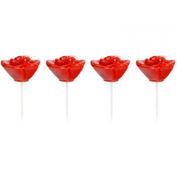 4 Bougies pics roses rouge