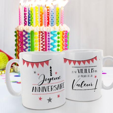 Magnifique mug Joyeux Anniversaire rose en céramique . Ce mug est un cadeau original à offrir.Compatible lave...