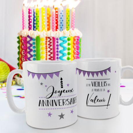 Magnifique mug Joyeux Anniversaire violet en céramique . Ce mug est un cadeau original à offrir.Compatible lave...
