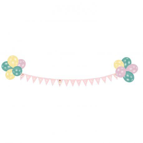Kit décoratif Happy Birthday petite danseuse Avec ballons, banderole de fanions