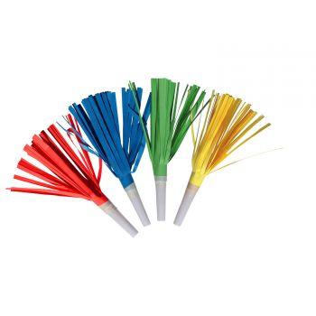 4 Sifflets de fête à franges multicolore