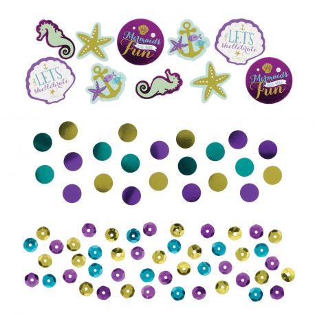 Assortiment de confettis de table métallisés pour agrémenter la décoration de votre table d'anniversaire sur le thème sirènes