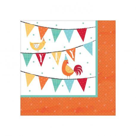 16 serviettes à dessert en papier pour une belle décoration de table d'anniversaire sur le thème de la ferme Dimensions: 12.5 x 12.5cm /...