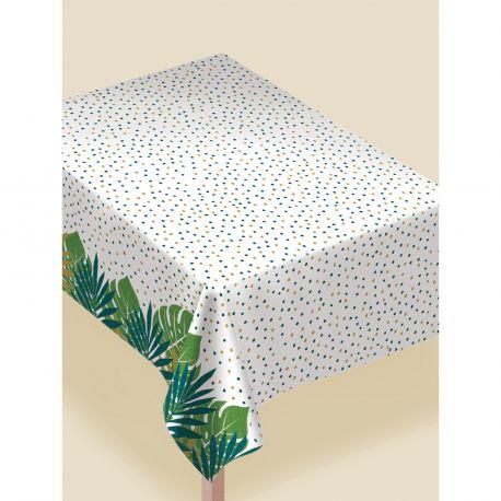 Nappe en plastique thème feuilles or pour une belle décoration de table naturelle et printanière Dimensions : 132 x 228 cm