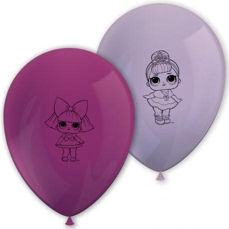 8 ballons en latex LOL Surprise pour la décoration de table d'anniversaire de votre enfant. Dimensions: 30cm