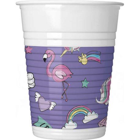 8 gobelets en plastique Minnie Licorne pour la décoration de table d'anniversaire de votre enfant. Dimensions: 20cl