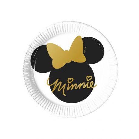 8 Assiettes dessert en carton Minnie gold pour la décoration de table d'anniversaire de votre enfant. Dimensions: Ø20cm
