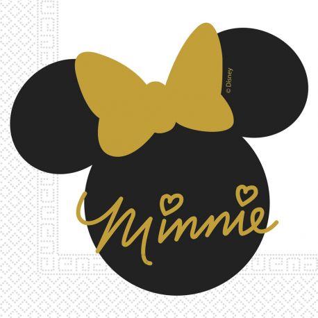 20 Serviettes Minnie gold pour la décoration de table d'anniversaire de votre enfant. Dimensions: 33cm
