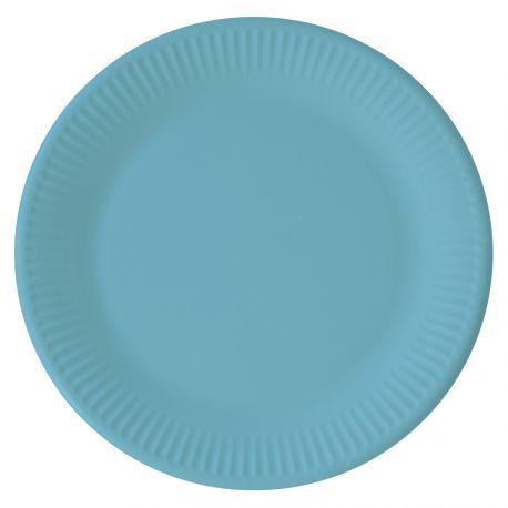 8 Assiettes en carton compostable pour utiliser du jetable tout en respectant la nature Couleur turquoise Dimensions: Ø23cm