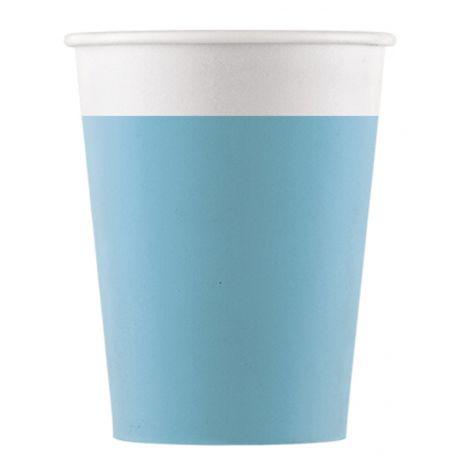8 gobelets en carton compostable pour utiliser du jetable tout en respectant la nature Couleur turquoise Dimensions: 20cl