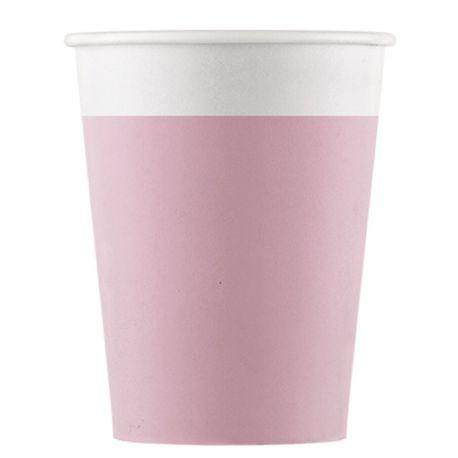 8 gobelets en carton compostable pour utiliser du jetable tout en respectant la nature Couleur rose Dimensions: 20cl