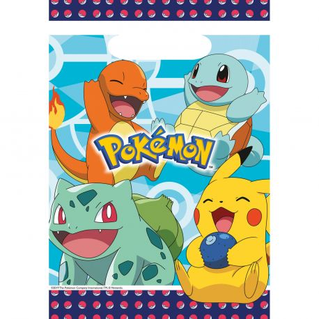 8 Sachets de fête Pokemon pour agrémenter votre décoration de fête d'anniversaire A remplir de jouets et bonbons pour offrir aux invités