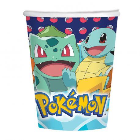 8 Gobelets en carton Pokemon pour la décoration de votre table de fête d'anniversaire Dimensions: 25cl