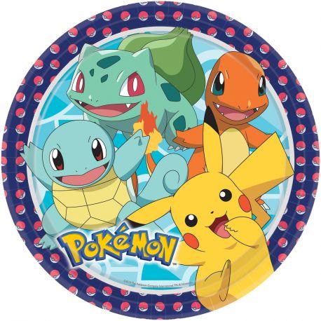 8 assiettes en carton Pokemon pour la décoration de votre table de fête d'anniversaire Dimensions: 23cm