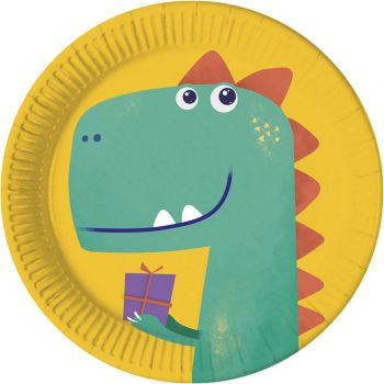 8 Assiettes compostable dinosaure