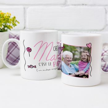 Mug personnalisé décor Chez Mamie