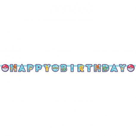 Banderole Happy Birthday en carton Pokemon pour la décoration de votre fête d'anniversaire Dimensions: 218cm x 12cm