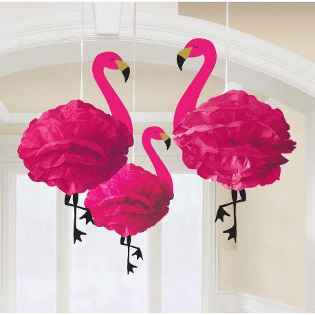 3 décors de à suspendre en forme de flamand rose idéal pour la décoration de fête d'un anniversaire sur le thème flamand rose ou tropical