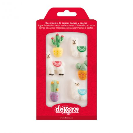 Assortiment de 6 décors en sucre en forme de lama et cactus pour décorer vos cupcakes, gâteaux, glaces.... Poids brut 44gr Poids net: 18gr