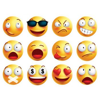 12 Mini disques en sucre Emoji