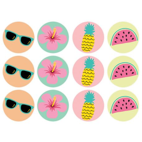 12 mini disques sucre décor Tropical pour la décoration de vos petits gâteaux et cupcakes d'anniversaire. Ces mini disques ne possèdent...