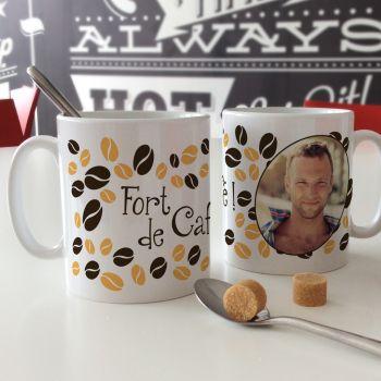 Mug blanc personnalisé décor Fort de café