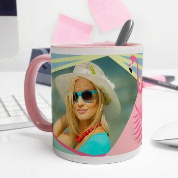 Mug personnalisé bicolore decor Flamingo Tropical