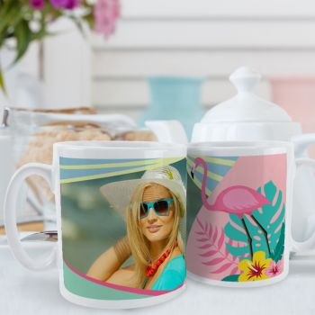 Mug blanc personnalisé décor Flamingo Tropical