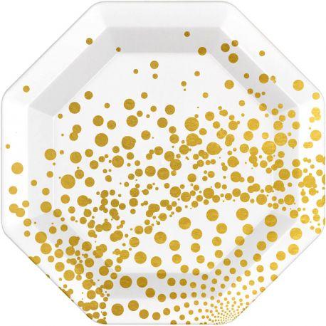 6 Assiettes en carton blanche avec décor en dorure Dimensions : 23 cm