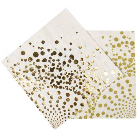 16 Serviettes en papier blanche avec décor en dorure Dimensions : 33cm x 33cm