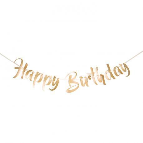 Superbe banderole Happy Birthday métallisé or pour une décoration de fête d'anniversaire ultra tendance Dimensions: 1 mètres