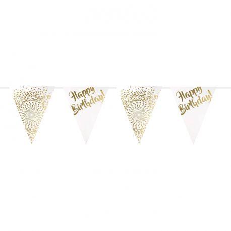 Guirlande de fanions avec décor en dorure Happy Birthday pour une décoration de fête d'anniversaire tendance Dimension: 6 mètres