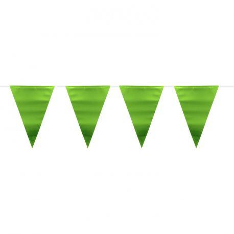 Guirlande de fanions métallisés verte pour une belle décoration de fête d'anniversaire Dimension: 6 mètres