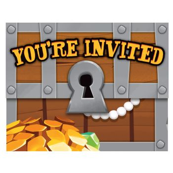 8 Invitations trésor pirate