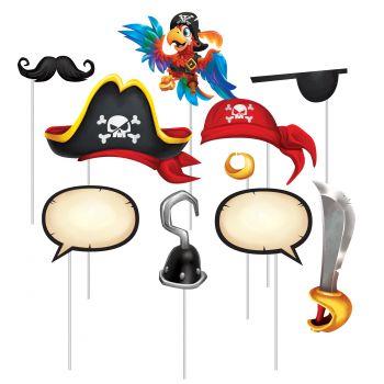 10 décors sur tiges Pirate photobooth