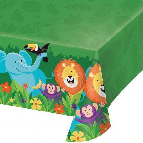 Nappe en plastique pour la décoration de table d'un anniversaire jungle Dimensions: 260cm x 137cm