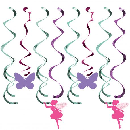 Assortiment de 5 suspensions en tourbillons pour la décoration d'une fête d'anniversaire féérie florale Dimensions: longueur entre 70 cm...