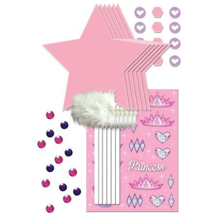 Kit 6 baguettes de princesse à customiser, livré avec strass et autocollants