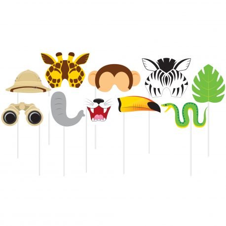 Assortiment de 10 décors thème Jungle pour les photobooth de vos anniversaires. Décors en carton monté sur tiges