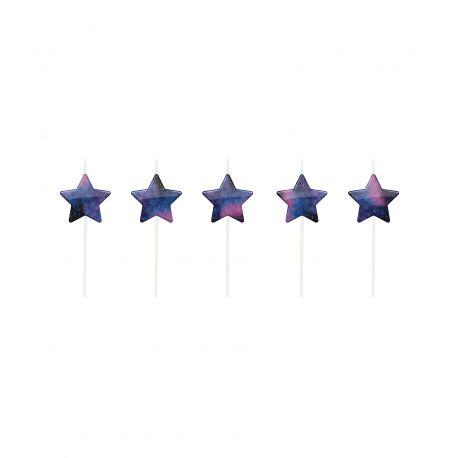 5 bougies pics sur le thème de l'espace en forme d'étoile aux couleurs galactique à poser sur votre gâteau d'anniversaire Dimensions: H...