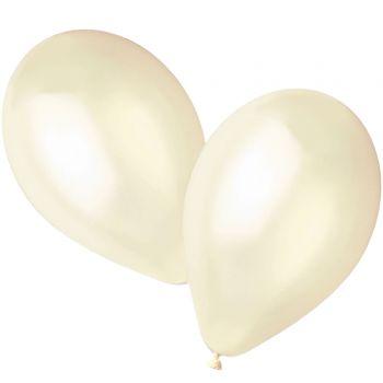 50 Ballons métallisés ivoire Ø30cm